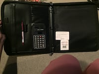 Buxton® Black Zip-Around Leather Padfolio Bag with Calculator And Strap For Carrying Long Beach, 90815