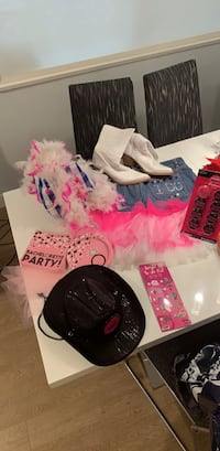 Bachelorette gear cowgirl theme! Some new unopened stuff, boots are size 38/ US 7-8 skirt size 14 Old navy, very easy to take in smaller! it could fit Langley, V1M 2A6