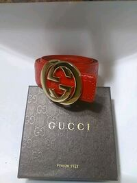 red Gucci leather belt with gold buckle Gaithersburg, 20886