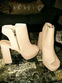Beige open toe platform booties Washington, 20011