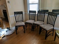 four brown wooden framed padded chairs Silver Spring, 20902