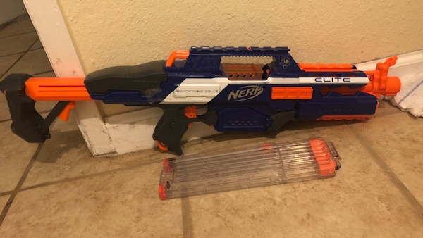 Black and orange nerf gun