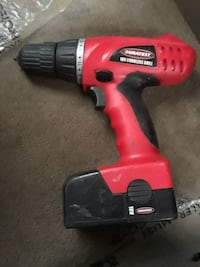 red and black Duralast cordless hand drill