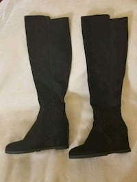 Black Wedge Boots  Mansfield