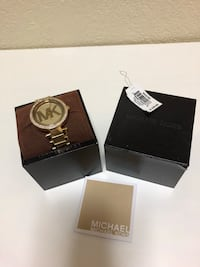 Round gold-colored michael kors analog watch with box 2273 mi