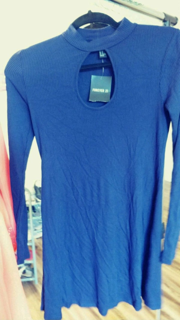Deep blue size small sexy thin sweater dress