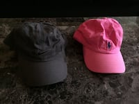 Black nike and pink ralph lauren fitted caps