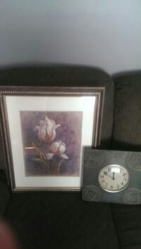 white Irises painting with brass steel frame Hampton, 23669