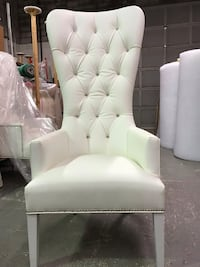 White leather tufted sofa chair
