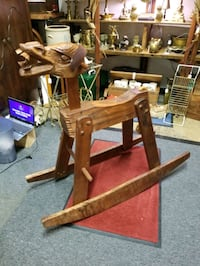 Handcarved 1 of 2 Braying Donkey Rocking horse! Made in USA.