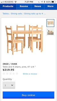 Solid pine ikea table and chairs Ottawa, K1Z 5K5