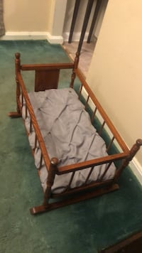 Antique oak baby bassinet