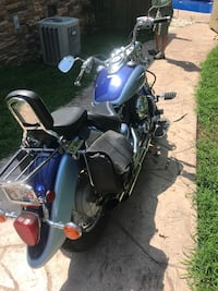Blue and black touring motorcycle