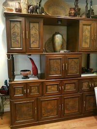 brown wooden cabinet with hutch 20 km