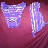 A purple and blue striped bikini. Kansas City, 66103