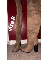 size 8 brown suede stacked heel thigh-high boots 37 km