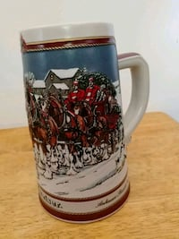 white and red ceramic beer stein 70 km