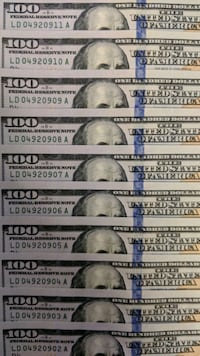 Ten US $100 Banknotes In Low Number Sequence Toronto, M1L 3E8