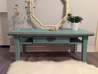 Rectangular turquoise  wooden coffee table