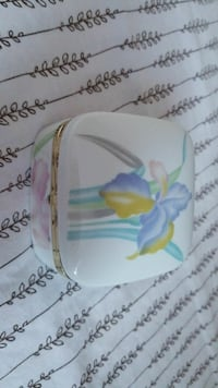 white and blue floral case