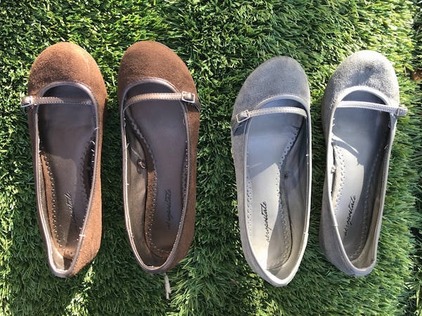 Suede brown & Gray flats