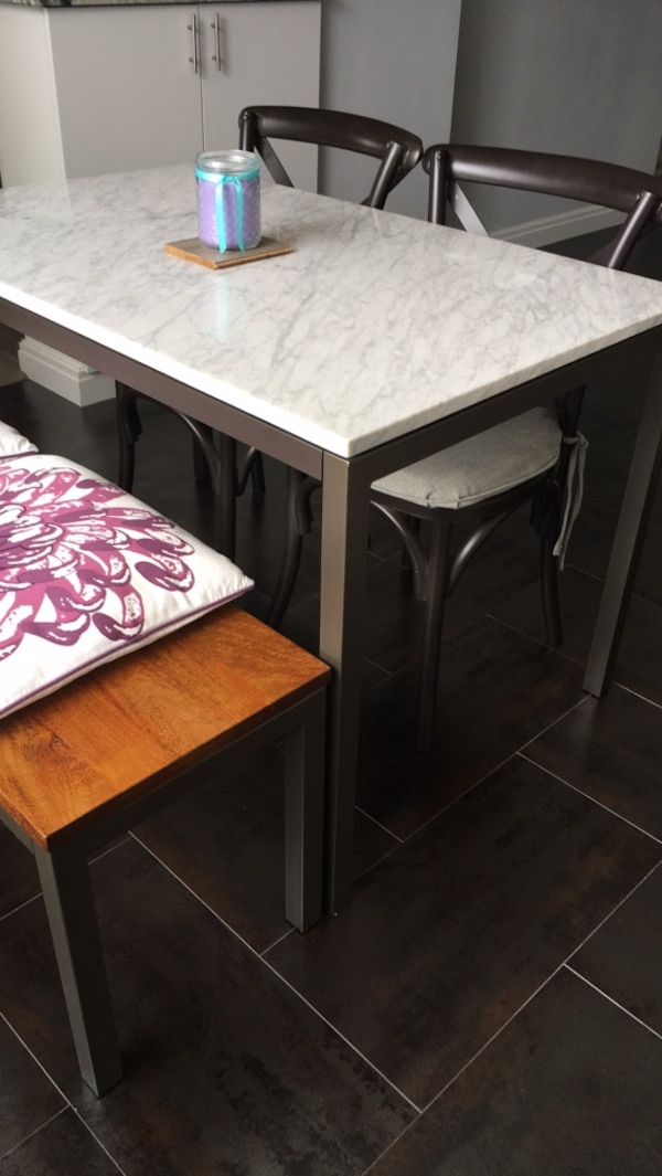 Used West Elm Marble Top Dining Table With Chairs And Bench For Sale In Fort Lee