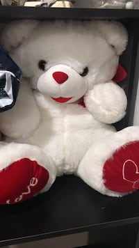 white and red bear plush toy Dallas, 75234