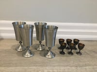 Pewter wine chalices and silver and gold plated shot glasses Toronto, M6P 1W4