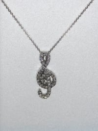 18k white gold diamond music note pendant with chain FLUSHING