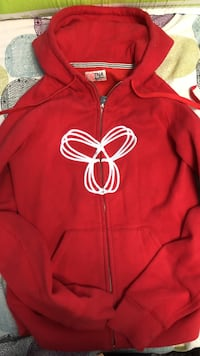 red and white TNA zip-up hoodie medium