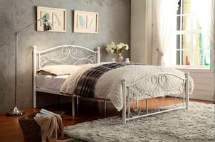 Full Size White Metal Platform Bed. Mattress NOT included.