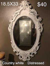 Country white distressed mirror Van Buren, 72956