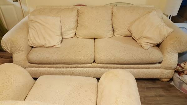 Off white fabric 3 piece sofa set