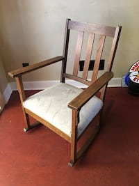 Cute upholstered wooden rocking chair Vancouver, V5Z 3E5