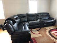 black leather 3-seat recliner sofa Winchester, 01890