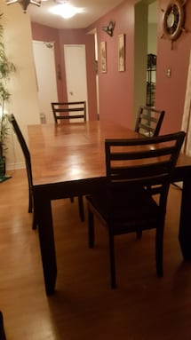 Wooden dining room  table and chairs