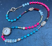 beaded blue and pink necklace