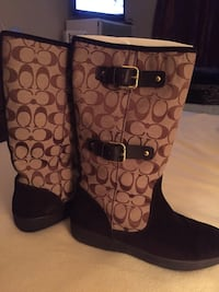 Pair of monogrammed brown-and-black coach boots Suitland, 20746