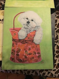 white Bichon Frise with red floral tote bag wall art paitning