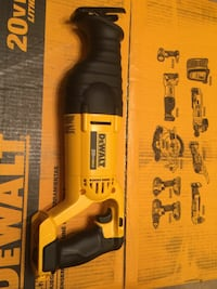 yellow and black DeWalt reciprocating saw