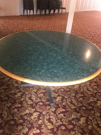 round white metal framed glass-top table Point Marion, 15474