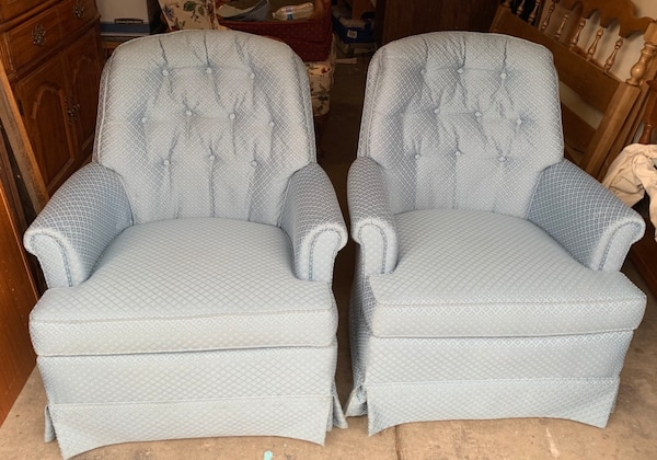 Awesome Pair Of Swivel Rocking Arm Chairs By Sherrill Baby Blue Caraccident5 Cool Chair Designs And Ideas Caraccident5Info