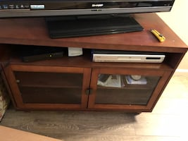 """TV Stand with glass doors 40""""W x 20""""D x 27""""H solid wood"""
