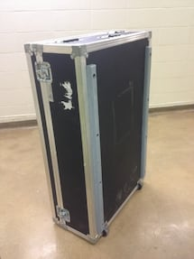 Shipping box / road case with 2 wheels handle and thick black foam interior $200 each or 2 for $380