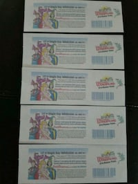 5 tickets to Dutch Wonderland  Falling Waters, 25419