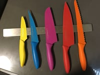 Colorful 5 Piece Knife Set with Wall Magnet Los Angeles, 90046
