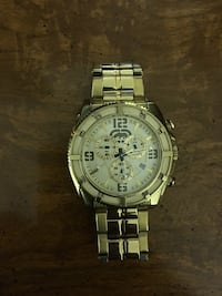 round silver-colored chronograph watch with link bracelet Oxford, 06478