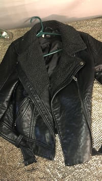 black leather zip-up jacket Toronto, M4E 1R4