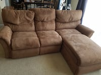 brown suede 3-seat recliner sofa Lorton