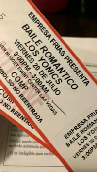TWO. TICKETS FOR LOS YONICS CONCERT AN MORE Las Vegas, 89104
